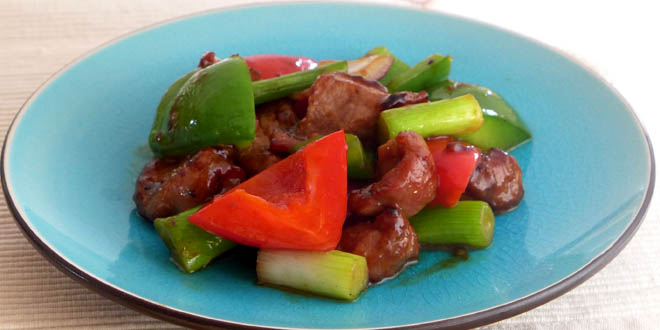 Stir fried pork with bbq sauce